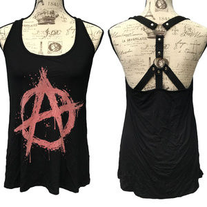 Midnight Hour Anarchy Tank Top Oversized Gothic S
